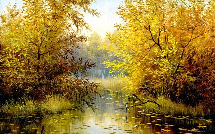 деревья, природа, листья, пейзаж, осень, птицы, живопись, время года, trees, nature, leaves, landscape, autumn, birds, painting, time of the year