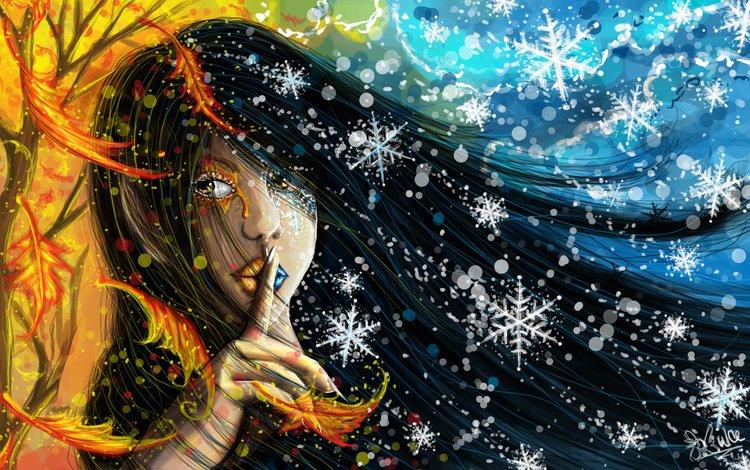 снег, осень, рука, губы, листья, лицо, зима, живопись, девушка, желтые, снежинки, длинные волосы, краски, разделение, взгляд, в сторону, snow, autumn, hand, lips, leaves, face, winter, painting, girl, yellow, snowflakes, long hair, paint, division, look, aside
