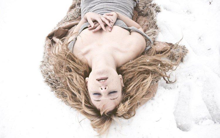 snow, winter, girl, blonde, hair