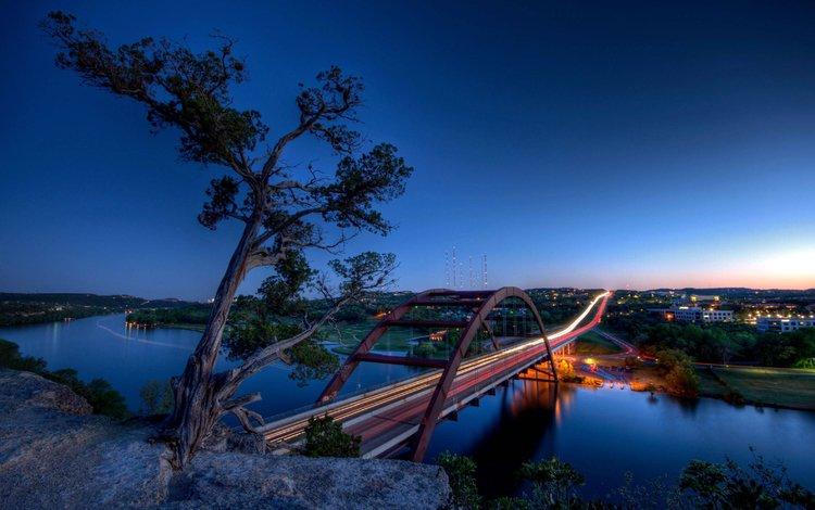 река, мост, город, техас, остин, river, bridge, the city, texas, austin
