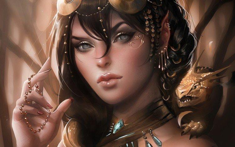 арт, девушка, фентези, дракон, эльф, art, girl, fantasy, dragon, elf