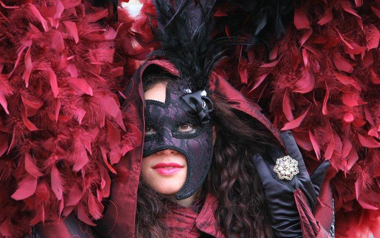 девушка, маска, венеция, перья, костюм, карнавал, girl, mask, venice, feathers, costume, carnival
