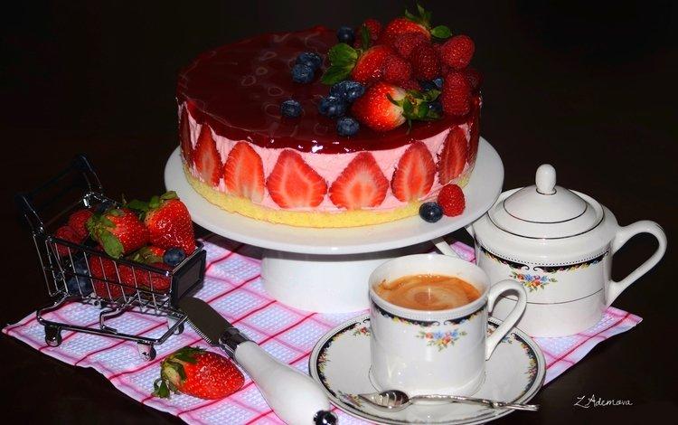малина, клубника, кофе, ягоды, торт, голубика, raspberry, strawberry, coffee, berries, cake, blueberries