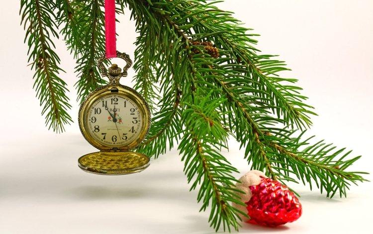 часы, игрушка, ель, еловая ветка, watch, toy, spruce, spruce branch