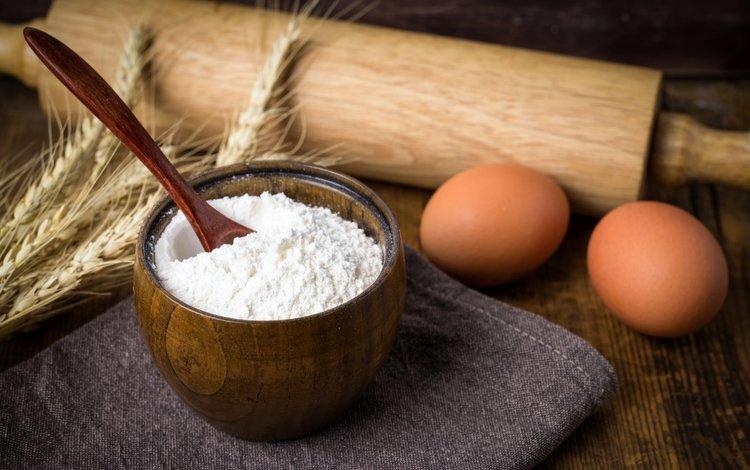 колоски, яйца, мука, скалка, spikelets, eggs, flour, rolling pin