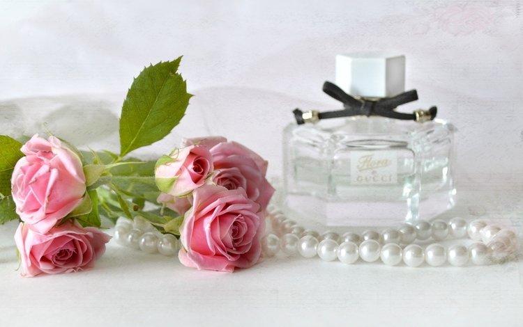 цветы, винтаж, розы, ожерелье, жемчуг, аромат, духи, флакон, flowers, vintage, roses, necklace, pearl, aroma, perfume, bottle