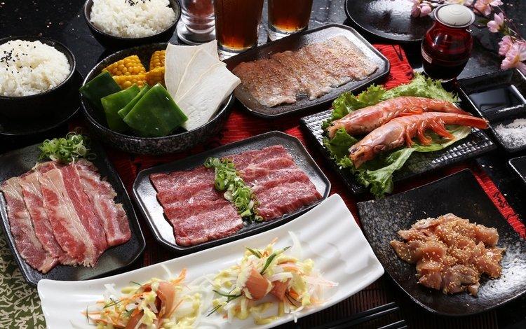морепродукты, японская кухня, бекон, блюда, seafood, japanese cuisine, bacon, meals