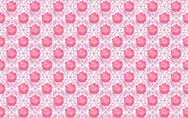 цветы, узор, сакура, объем, 3д, flowers, pattern, sakura, the volume, 3d