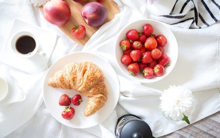 strawberry, coffee, croissant, nectarine