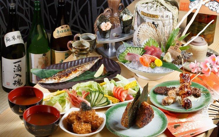 овощи, морепродукты, ассорти, блюда, vegetables, seafood, cuts, meals