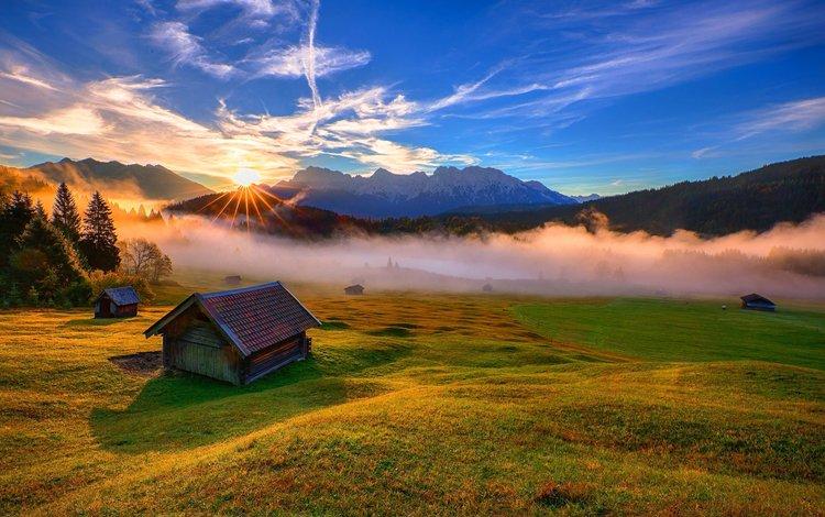 горы, восход, луг, валлпапер, fog туман, mountains, sunrise, meadow, wallpaper, fog mist
