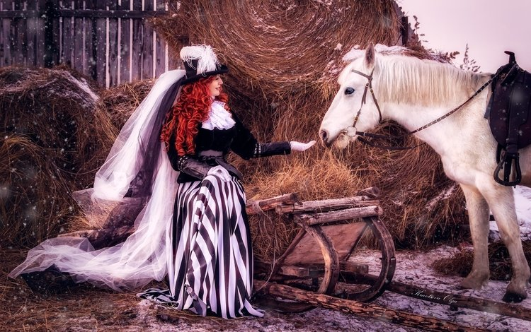 horse, snow, girl, hay, red, hair, outfit, hat, veil, lady