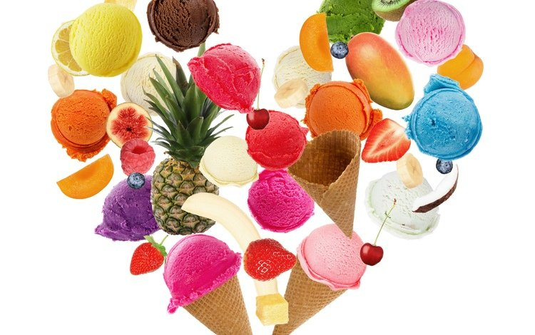 мороженое, сладкое, фрукты, мороженное, банан, клубника, ананас, лимон, вишенка, абрикос, вишня, киви, рожок, ice cream, sweet, fruit, banana, strawberry, pineapple, lemon, apricot, cherry, kiwi, horn