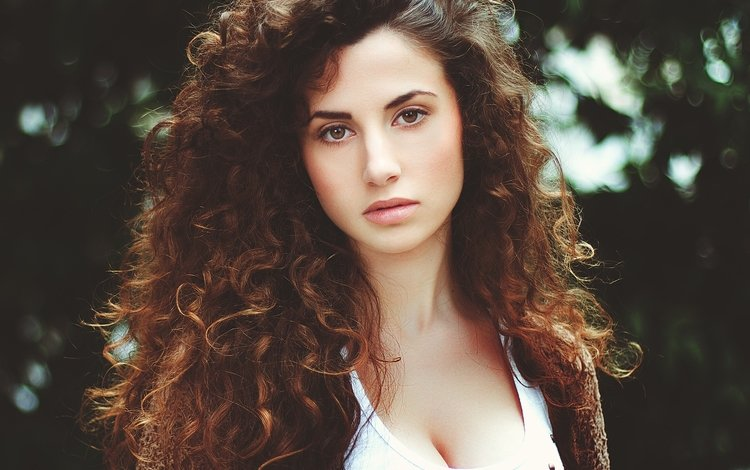 брюнетка, взгляд, кудри, волосы, лицо, brunette, look, curls, hair, face
