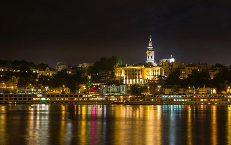 ночь, огни, река, город, сербия, belgrade, night, lights, river, the city, serbia