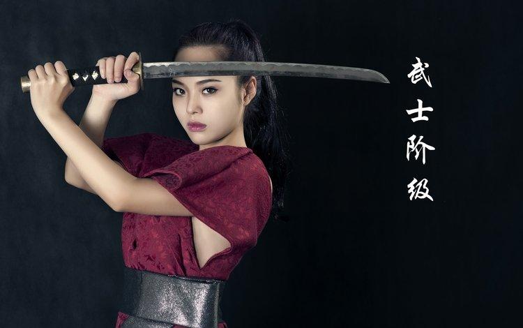 девушка, меч, иероглифы, азиатка, вакидзаси, girl, sword, characters, asian, wakizashi