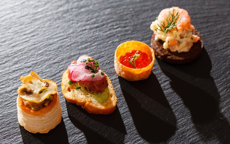 булки, хлеб, икра, морепродукты, бутерброды, морепродуктов, бекон, butterbrot, bread, caviar, seafood, sandwiches, bacon