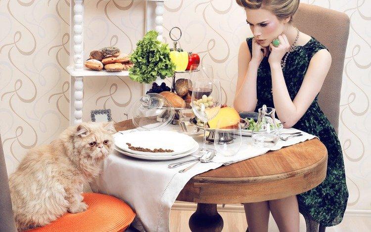 girl, cat, table, model