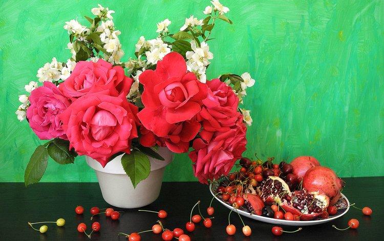 розы, роза, вишня, натюрморт, гранат, цветы, вишенка, roses, rose, cherry, still life, garnet, flowers