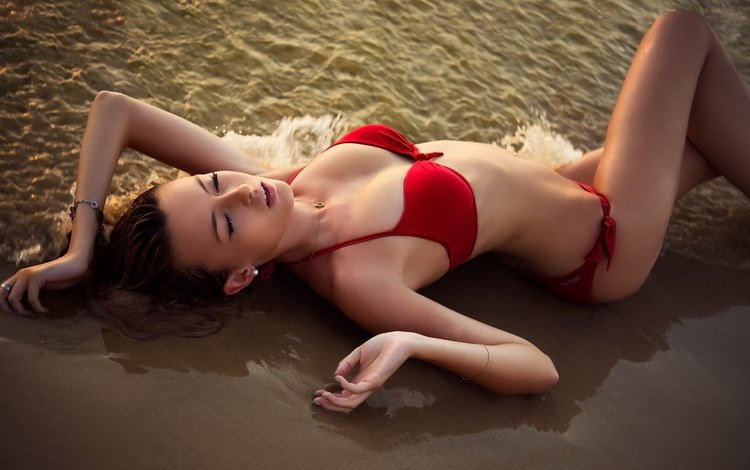 девушка, море, песок, бикини, stefani hantis, модел, girl, sea, sand, bikini, model