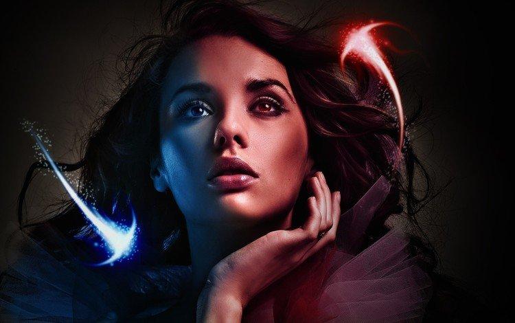 арт, лицо, редрединг, девушка, магия, фантастика, огоньки, взгляд, сферы, фантазия, мечта, сон, сексуальная, модель, 3d графика, волосы, красивая. лицо, art, face, regrading, girl, magic, fiction, lights, look, sphere, fantasy, dream, sleep, sexy, model, 3d graphics, hair, beautiful. face