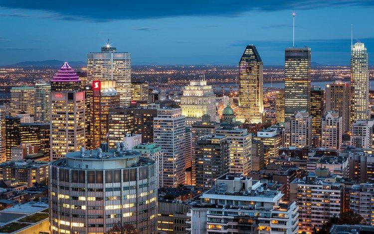 небо, постройки, ночь, синее, огни, канада, города, освещение, город, монреаль, небоскребы, квебек, дома, quebec, здания, the sky, buildings, night, blue, lights, canada, city, lighting, the city, montreal, skyscrapers, qc, home, building