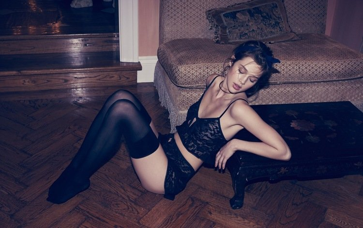 взгляд, красавица, чулки, губы, кушетка, дамское белье, anais pouliot, модел, look, beauty, stockings, lips, couch, lingerie, model