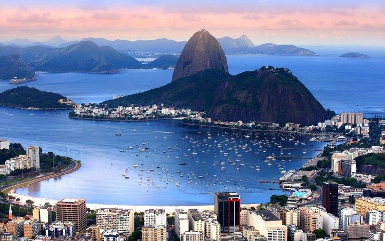 горы, лодки, побережье, залив, дома, бразилия, катера, рио де жанейро, mountains, boats, coast, bay, home, brazil, rio de janeiro