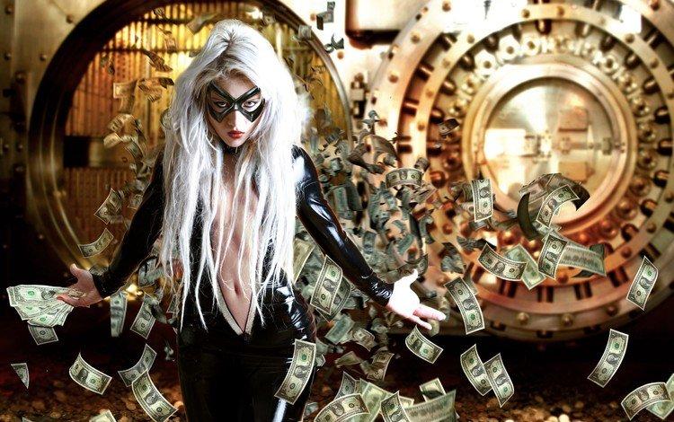 girl, mask, money, the bank, robbery