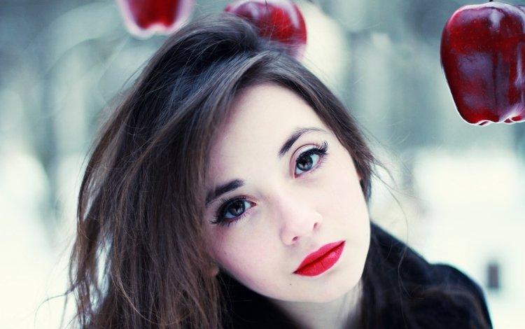 девушка, красная, яблоки, взгляд, макияж, помада, girl, red, apples, look, makeup, lipstick