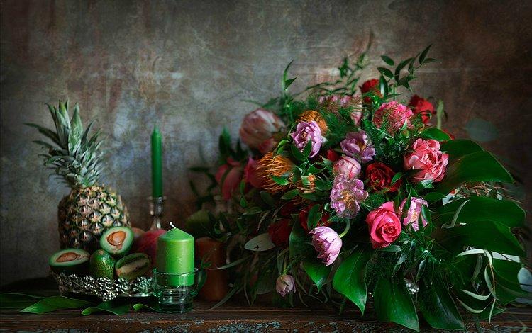 свечи, букет, ананас, авокадо, candles, bouquet, pineapple, avocado