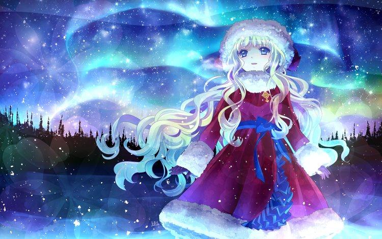 арт, шуба, снег, hira taira, новый год, лес, девушка, звезды, взгляд, северное сияние, art, coat, snow, new year, forest, girl, stars, look, northern lights