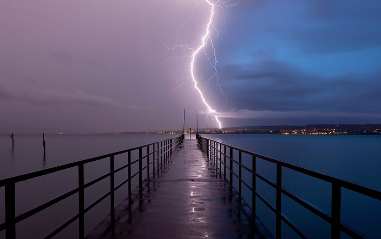 the bridge, lightning, the storm, germany, baden-württemberg, lake constance, constance