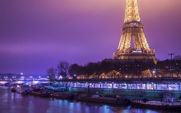 ночь, фонари, канал, франция, катера, эйфелева башня, катер, франци, берег моря, coast, night, lights, channel, france, boats, eiffel tower, boat