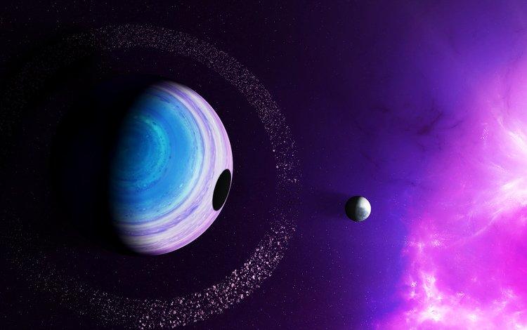 the sky, light, planet, nebula, shadow, ring, satellite