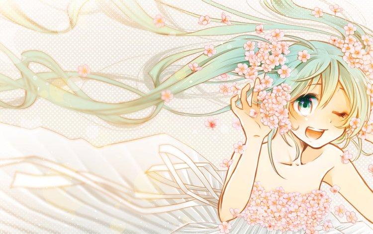 цветы, orihara sachiko, арт, мику хацунэ, девушка, улыбка, радость, аниме, вокалоид, сакура, flowers, orihara julee, art, hatsune miku, girl, smile, joy, anime, vocaloid, sakura