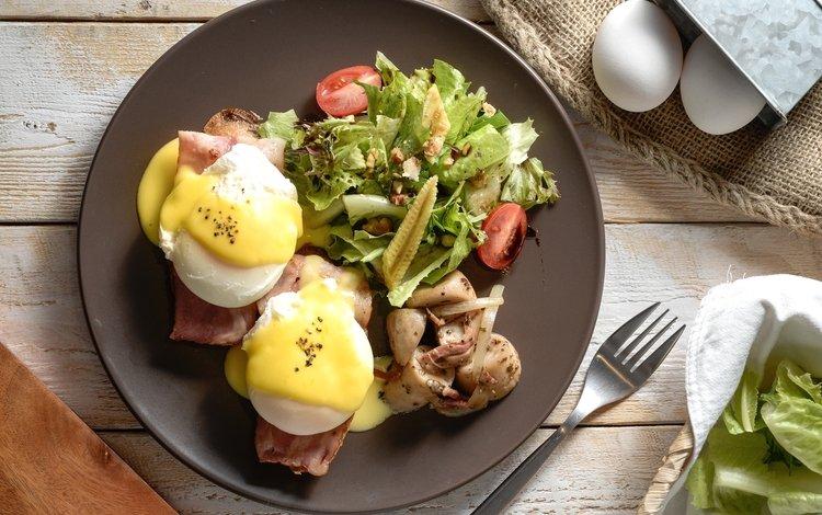 овощи, яйца, салат, бекон, пашот, vegetables, eggs, salad, bacon, poached