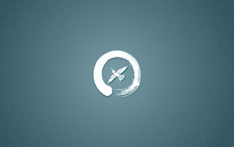 logo, bird, round, blue background