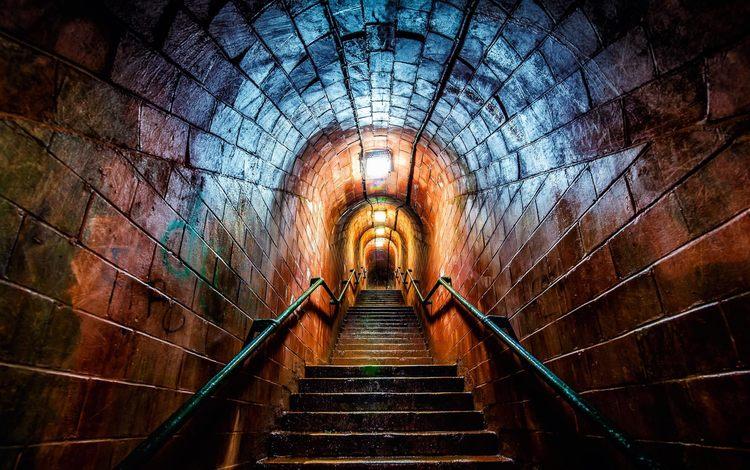 свет, цвета, лестница, туннель, перила, коридор, рампы, light, color, ladder, the tunnel, railings, corridor, ramp
