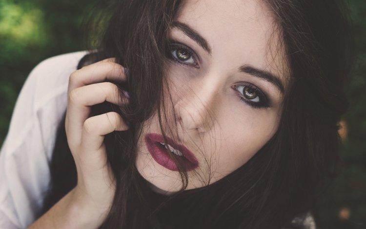брюнетка, взгляд, лицо, макияж, brunette, look, face, makeup