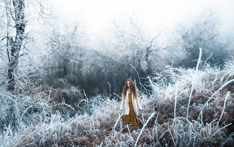 снег, лес, девушка, lizzy gadd, winter frost, snow, forest, girl