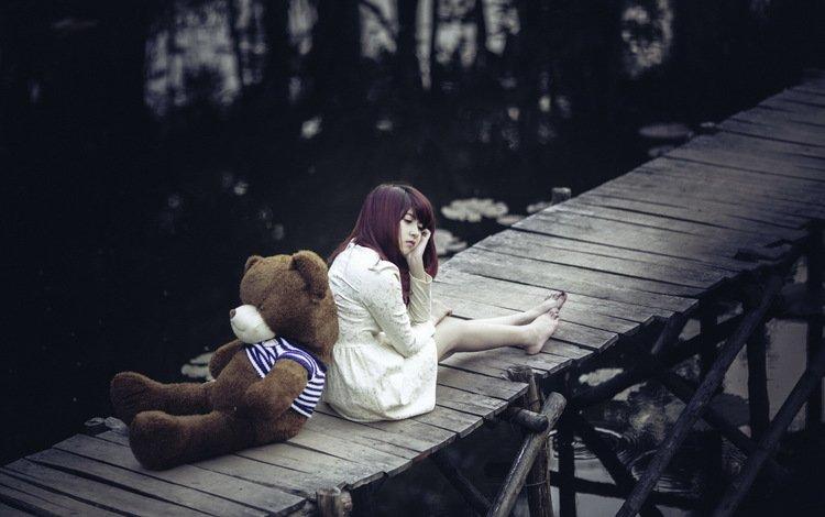 девушка, мост, мишка, girl, bridge, bear