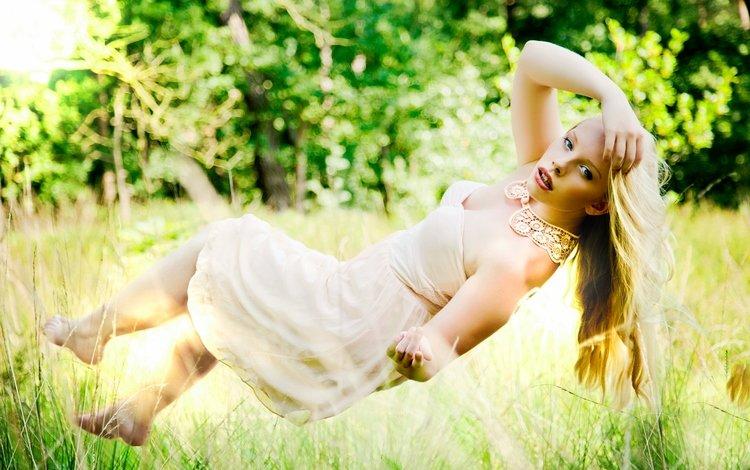 grass, trees, girl, blonde, look, levitation