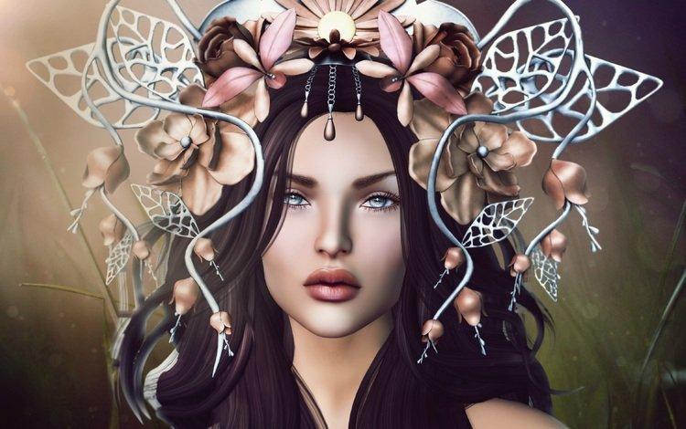 цветы, девушка, портрет, взгляд, волосы, лицо, flowers, girl, portrait, look, hair, face