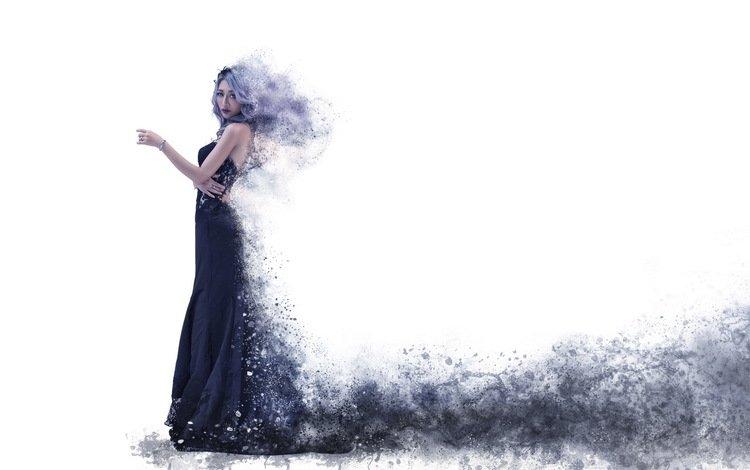 девушка, платье, взгляд, черное, азиатка, белыйфон, girl, dress, look, black, asian, blyton