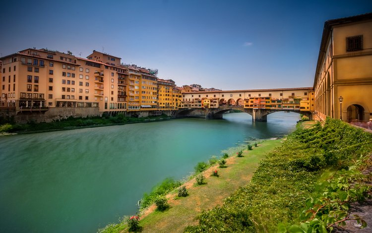 река, мост, дома, италия, флоренция, арно, понте-веккьо, river, bridge, home, italy, florence, arno, the ponte vecchio