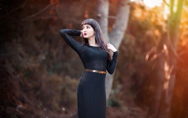 girl, background, dress, pose, hair, black
