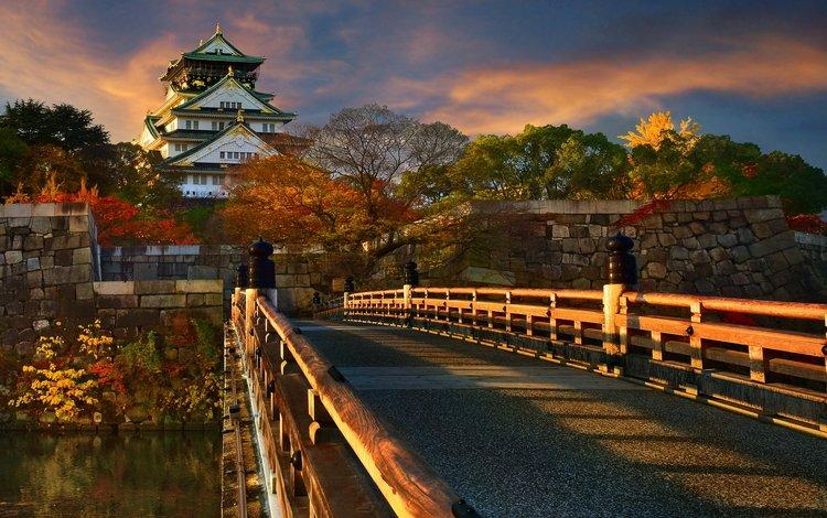 небо, деревья, мост, осень, водоем, пагода, япония, солнечно, the sky, trees, bridge, autumn, pond, pagoda, japan, sunny
