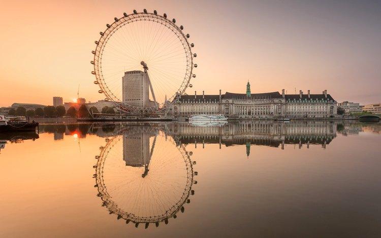 небо, london eye, вода, закат, отражение, лондон, дома, англия, колесо, the sky, water, sunset, reflection, london, home, england, wheel