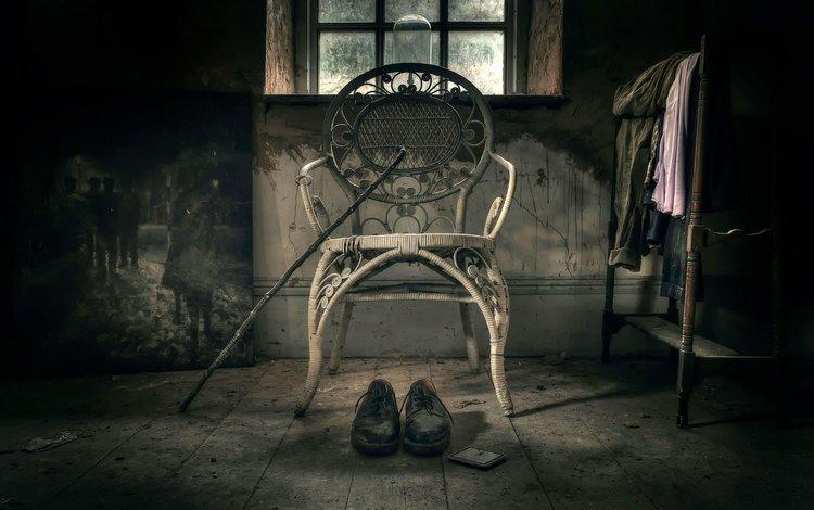 картина, стул, ботинки, трость, solitude, picture, chair, shoes, cane